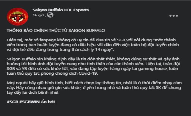 Thực hư tin đồn Saigon Buffalo phải cách ly 14 ngày do 1 thành viên có dấu hiệu sốt